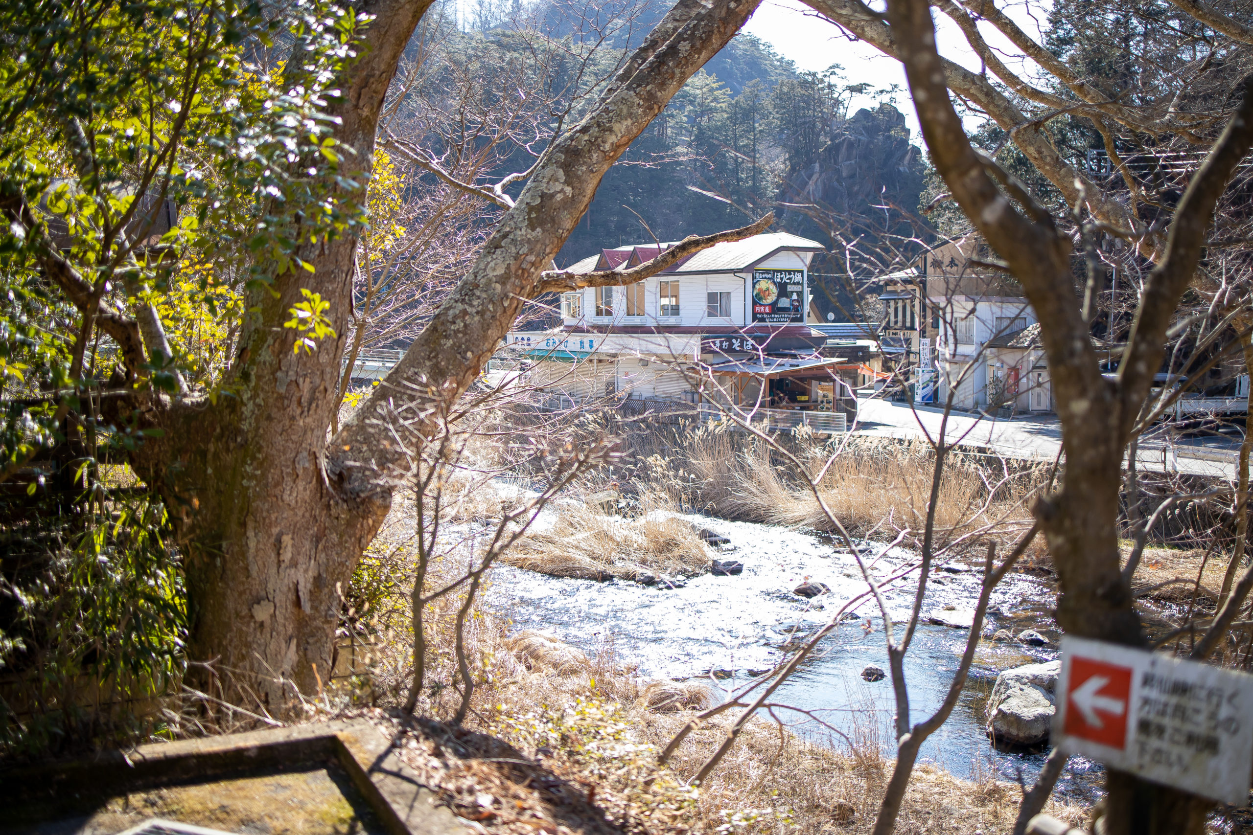 滝の上バス停から対岸を撮影